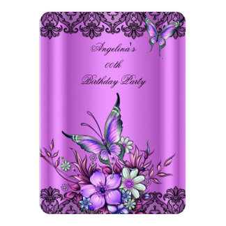 """Pink Lilac Butterfly Floral Black Lace Birthday 4.5"""" X 6.25"""" Invitation Card"""