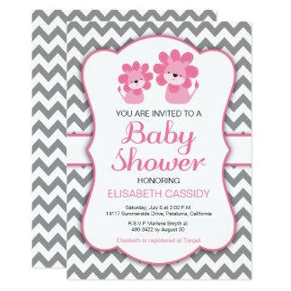 Pink Lion, Chevron Girl Baby Shower Invitation