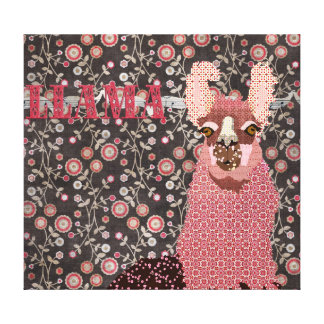 Pink Llama Brown Vintage Floral Art Canvas Stretched Canvas Prints