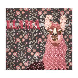 Pink Llama Brown Vintage Floral  Art Canvas Gallery Wrap Canvas