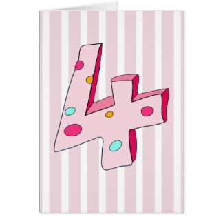 Pink Lolly 4 Striped Birthday Card