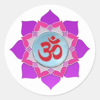 Pink lotus round sticker