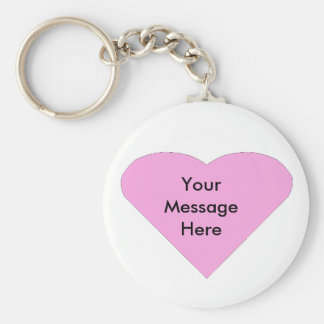 Pink Love Heart message template Key Ring