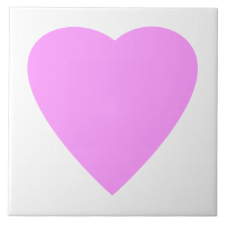 Pink love heart on white. large square tile