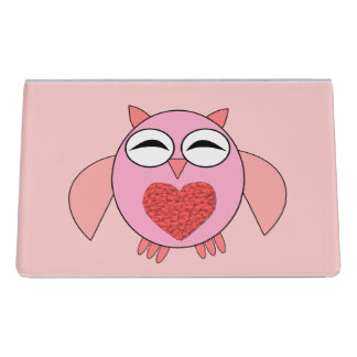Pink Love Heart Owl Desk Business Card Holder