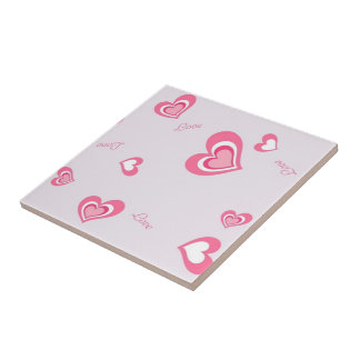 pink love hearts tile