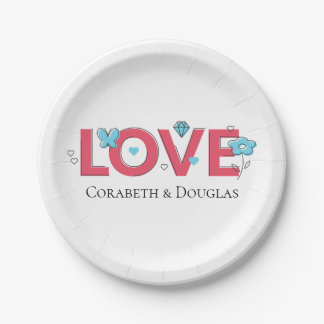 Pink Love Wedding Party Bridal Shower Blue Hearts Paper Plate