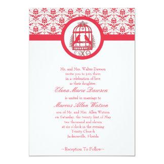 Pink Lovebird Cage Wedding Invitation