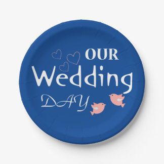 Pink Lovebirds Blue & White Wedding Just Married 7 Inch Paper Plate