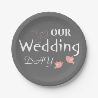 Pink Lovebirds Gray Wedding Announcement - Grey 7 Inch Paper Plate