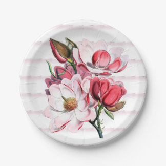 Pink Magnolia Blooms Paper Plates 7""