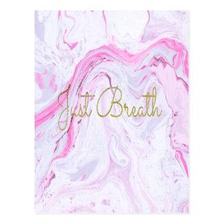 Pink Marble Just breathe design Postcard