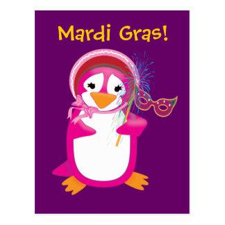 Pink Mardi Gras Penguin Postcard