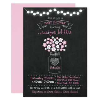 Pink Mason Jar Chalkboard Baby Shower Card