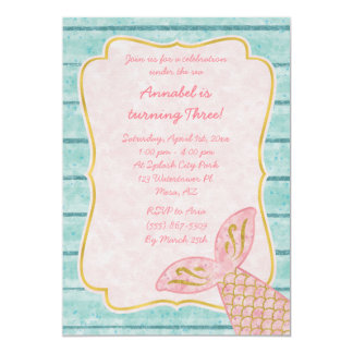 Pink Mermaid Invitation with Gold and Aqua Blue