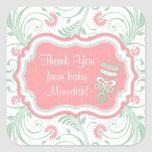 Pink Mint Green Floral Sip N See Baby Shower Square Stickers