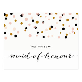 Pink Modern Confetti Will You Be My Maid of Honour Postcard