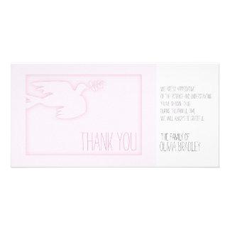 Pink Modern Dove - Baby Custom Sympathy Thank You Custom Photo Card
