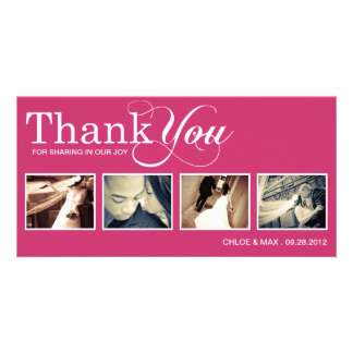 PINK MODERN THANKS | WEDDING THANK YOU CARD PHOTO CARDS