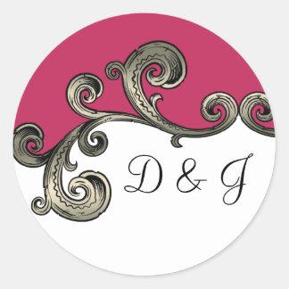 pink monogram envelope seal round stickers
