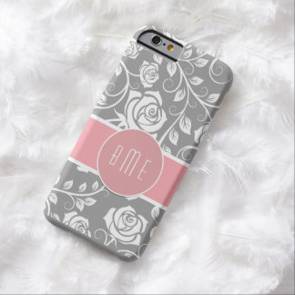 Pink Monogram Floral Damask Barely There iPhone 6 Case