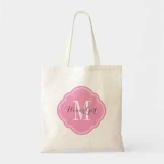 Pink Monogram Flower Girl Tote Bag