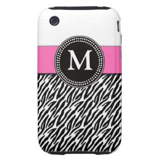 Pink Monogram Zebra Pattern iPhone 3 Case-Mate Tough iPhone 3 Cover