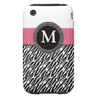 Pink Monogram Zebra Pattern iPhone 3G Case-Mate iPhone 3 Tough Case