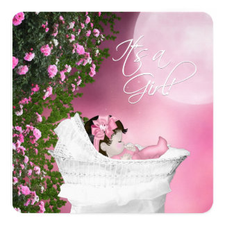 Pink Moon Baby Girl Shower Card