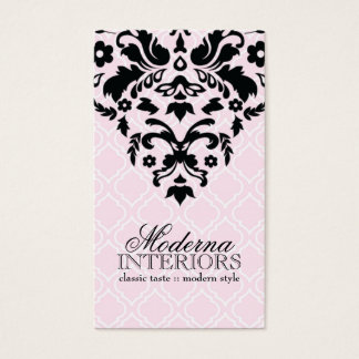 Pink Moroccan Damask Business Card