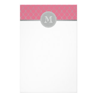 Pink Moroccan monogramed Stationery