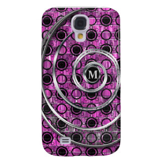 Pink Mosaic, Black & Silver Swirls Dots Monogram Galaxy S4 Case