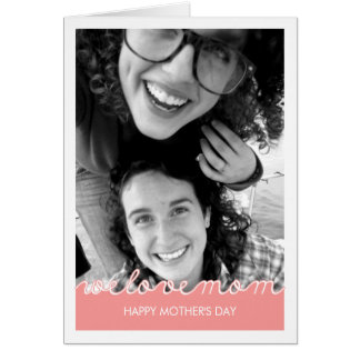 Pink Mothers Day Photo Love Mum Cut Out Text Card