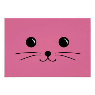 Pink Mouse Cute Animal Face Design Poster