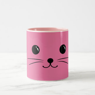 Pink Mouse Cute Animal Face Design Two-Tone Coffee Mug