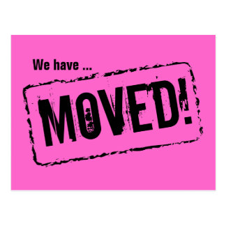 Pink moving postcards for your new home address