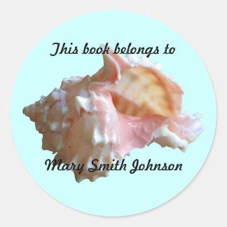 Pink Murex Seashell Bookplates Round Sticker