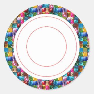 Pink n Jewels  Circle Round Decorative Sticker