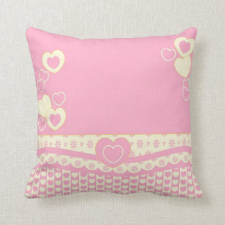 Pink n White Heart n Lace Pillow Cushions