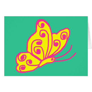 Pink n yellow butterfly blank card