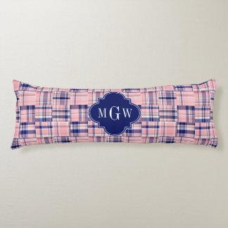 Pink, Navy Blue Preppy Patchwork Madras Monogram Body Cushion