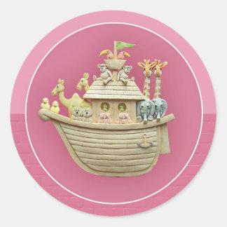 Pink Noah's Ark Classic Round Sticker
