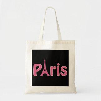 Pink on Black Paris France - Eiffel Tower Tote Bag
