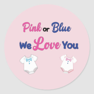 Pink or Blue with Layette Bodysuits Classic Round Sticker