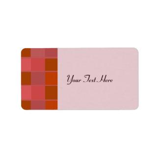 Pink Orange And Brown Squares Pattern Address Label