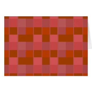 Pink Orange And Brown Squares Pattern Greeting Card