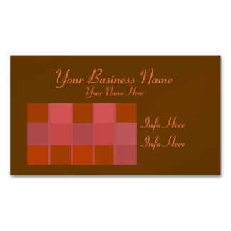 Pink Orange And Brown Squares Pattern Magnetic Business Cards