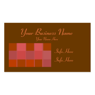 Pink Orange And Brown Squares Pattern Pack Of Standard Business Cards