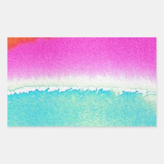 Pink Orange Blue Watercolor Rectangular Sticker