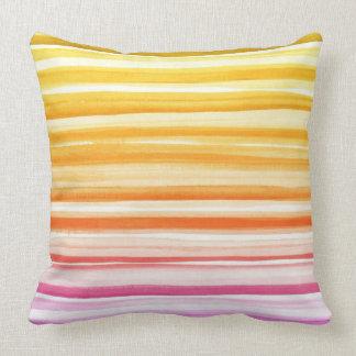 Pink Orange Brushstroke Watercolor Ombre Pillow Cushion
